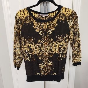 Jennifer Lopez Black and Gold 3/4 Sleeve Blouse